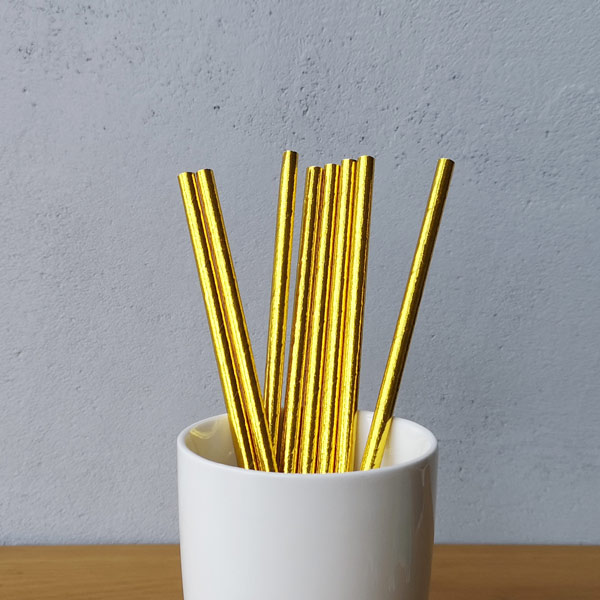 Gold Metallic Drinking Paper Straws