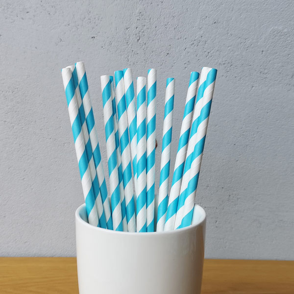 Blue Big Striped Drinking Paper Straws
