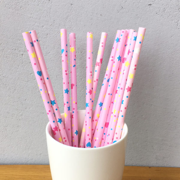 Pink Star Pattern Decorative Paper Straws