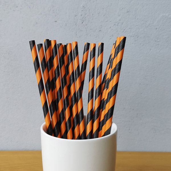 Black And Orange Big Striped Drinking Paper Straws