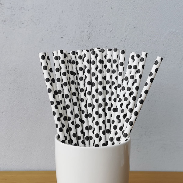Black Big Polka Dot Drinking Paper Straws