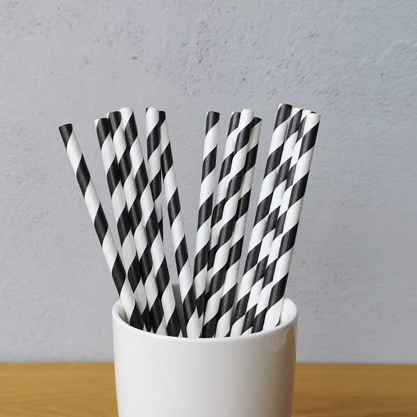 Black Big Striped Drinking Paper Straws