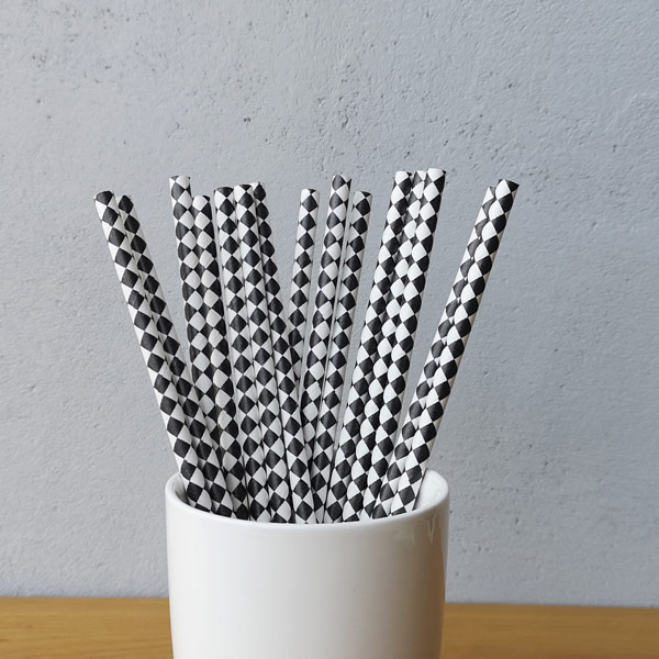 Black Harlequin Diamond Drinking Paper Straws