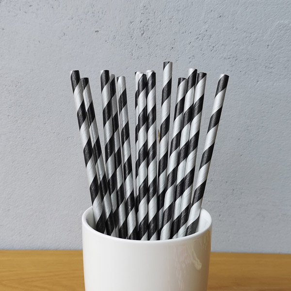 Black And Silver Big Striped Drinking Paper Straws