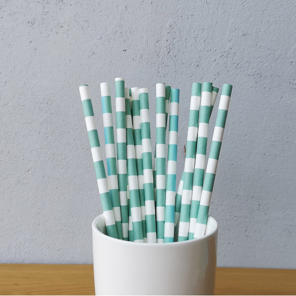 Rugby Stripe Paper Straws in Stock