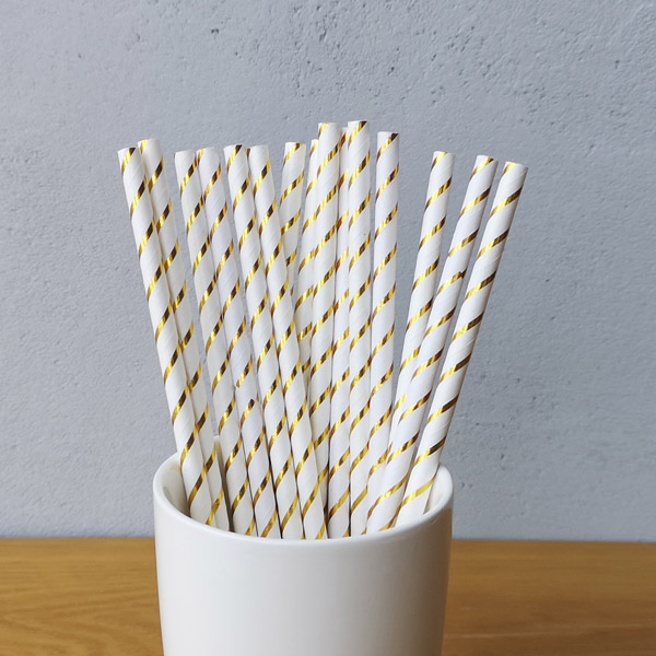 Gold  Small Striped Drinking Paper Straws