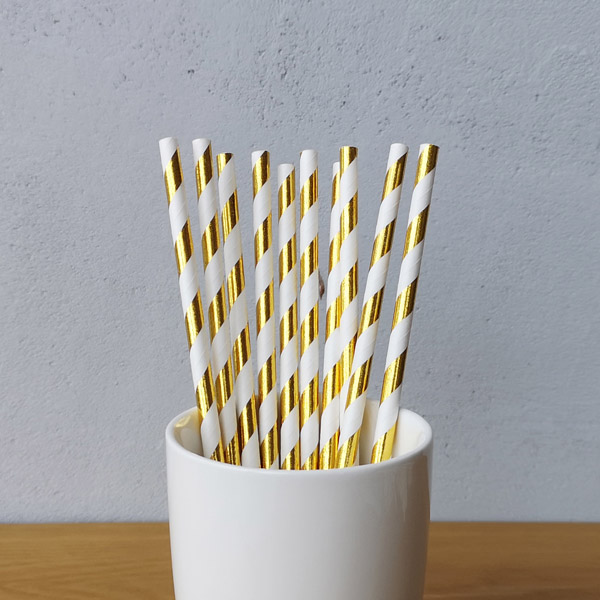 Gold Big Striped Drinking Paper Straws
