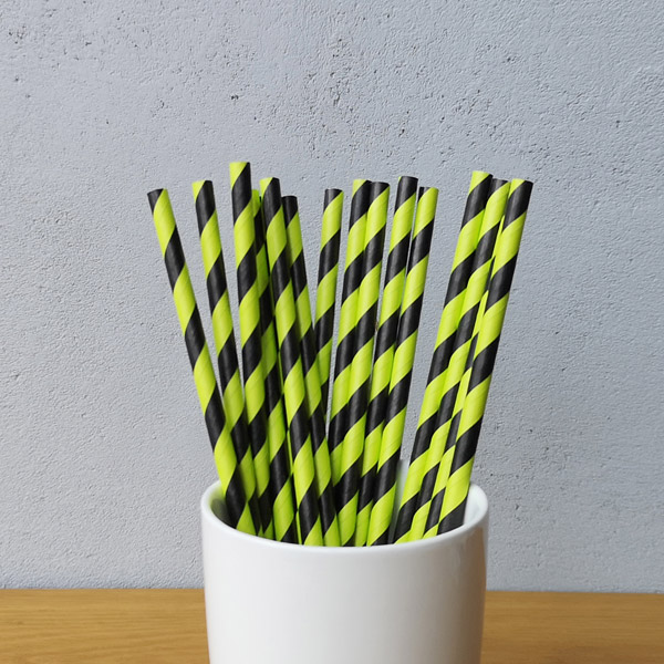Green And Black Big Striped Drinking Paper Straws