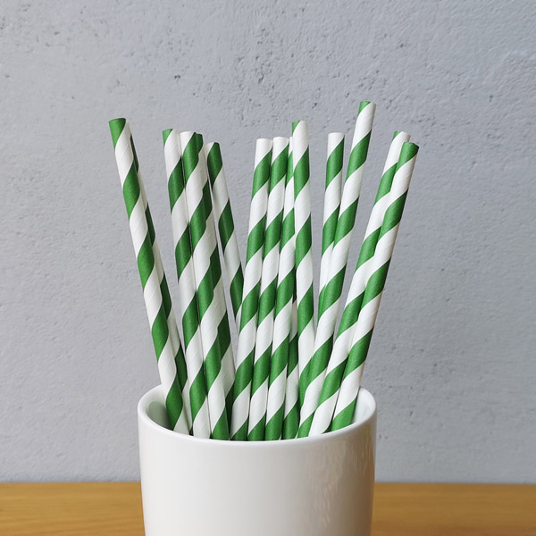 Green Big Striped Drinking Paper Straws