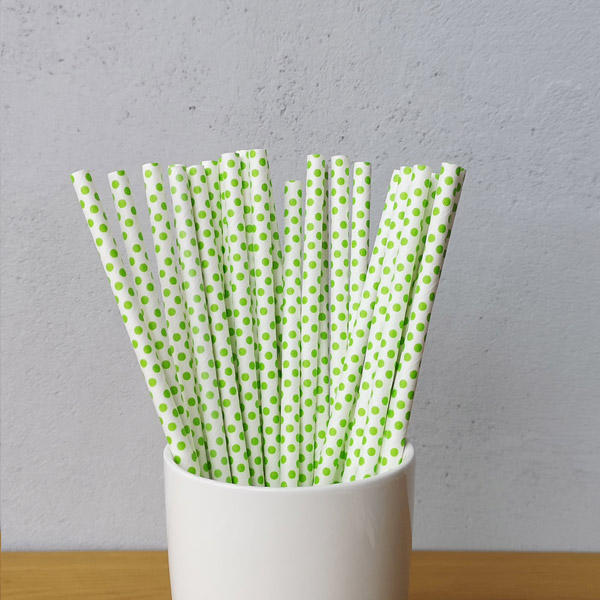 Green Small Polka Dot Drinking Paper Straws