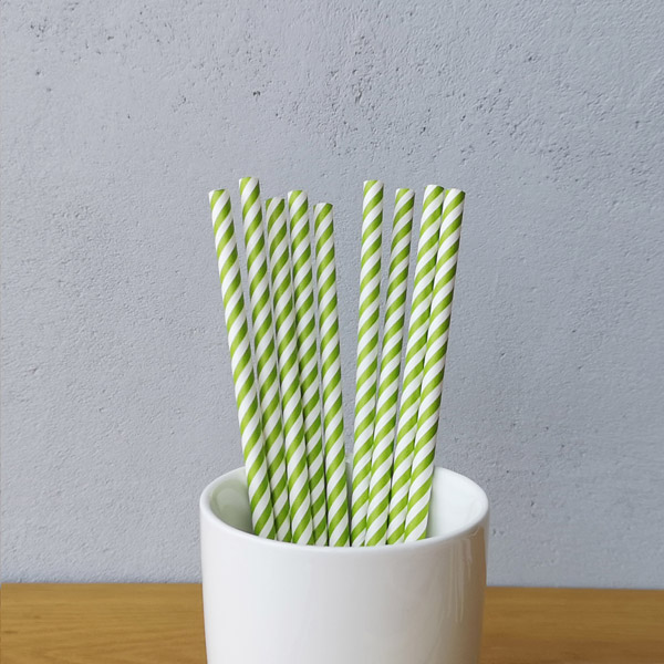 Green Small Striped Drinking Paper Straws