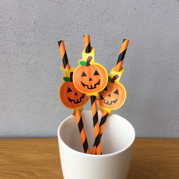 Red Strip Halloween Paper Straws