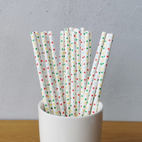 Mulit Colour Small Polka Dot Drinking Paper Straws