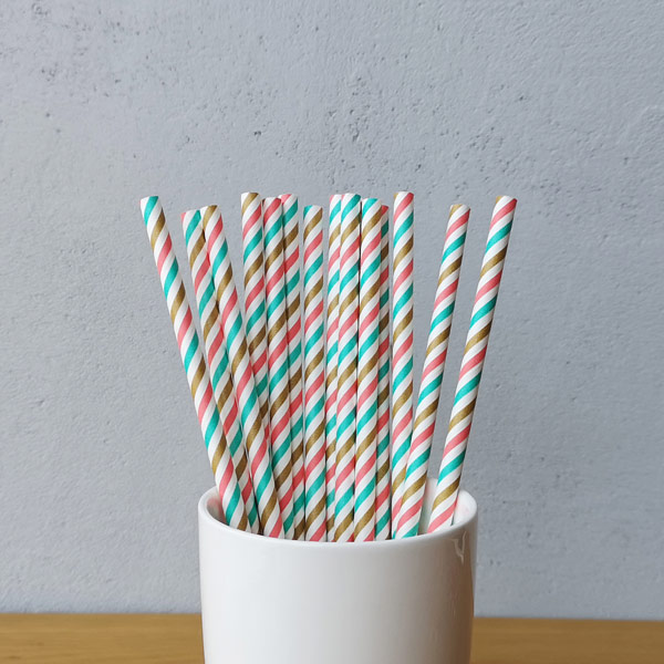 Multi Colour Small Striped Drinking Paper Straws