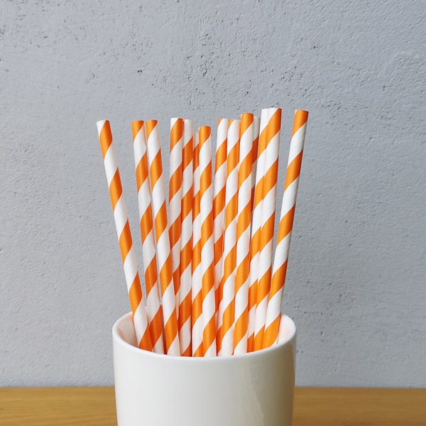 Orange And White Big Striped Drinking Paper Straws