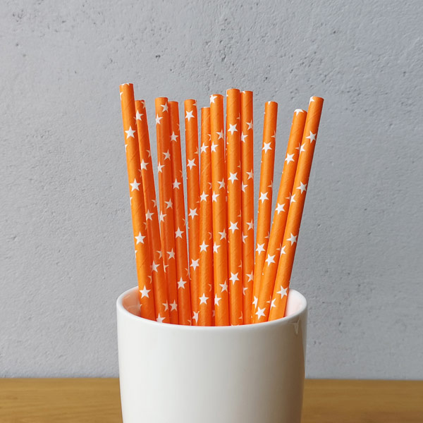 Orange With White Star Pattern Drinking Paper Straws