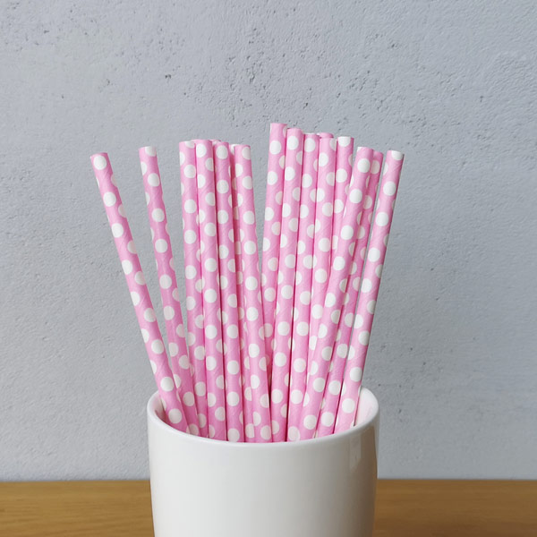 Pink Big Polka  Dot Drinking Paper Straws