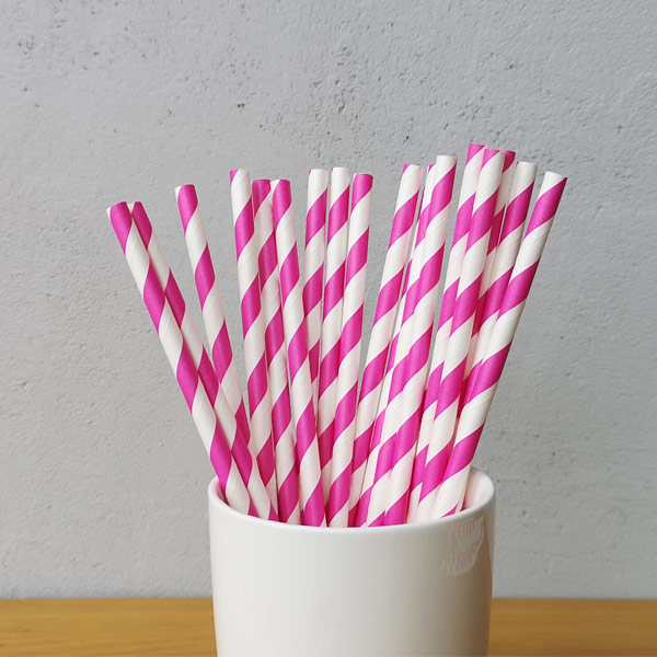 Pink Big Striped Drinking Paper Straws