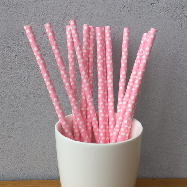 Pink Heart Shaped Decorative Paper Straws