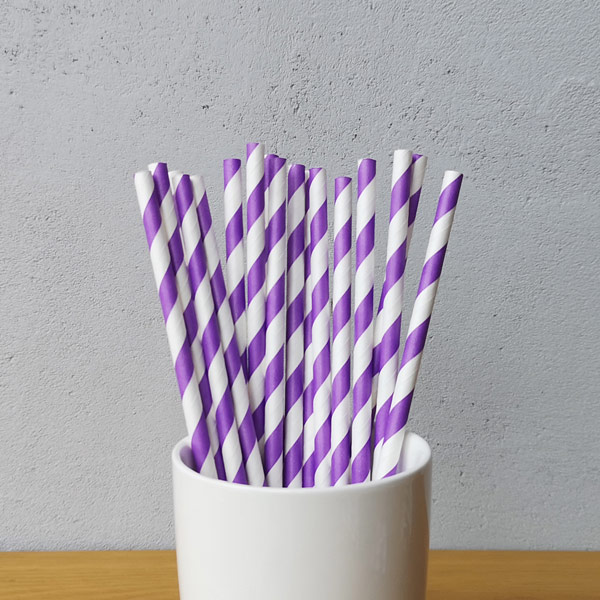 Purple Big Striped Drinking Paper Straws
