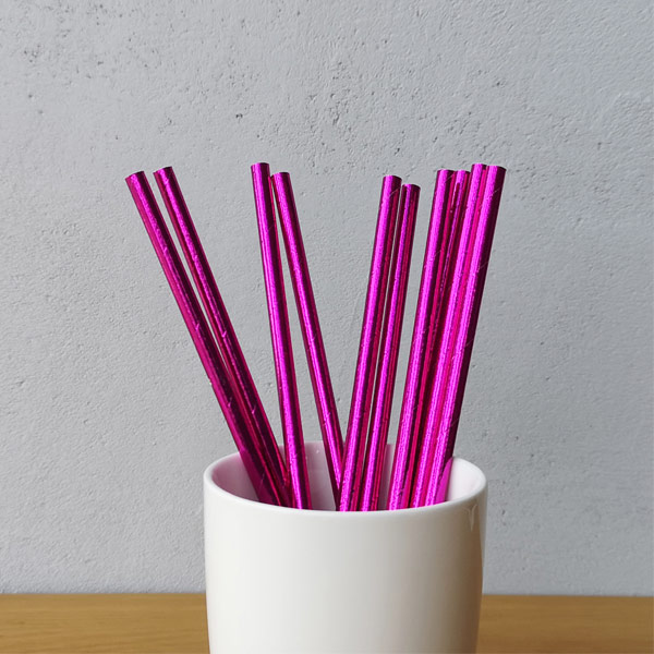 Purple Metallic Drinking Paper Straws