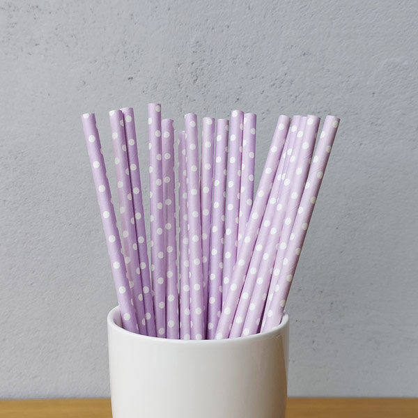 Purple Middle Polka Dot Drinking Paper Straws