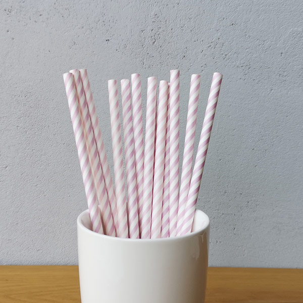 Purple Small Striped Drinking Paper Straws