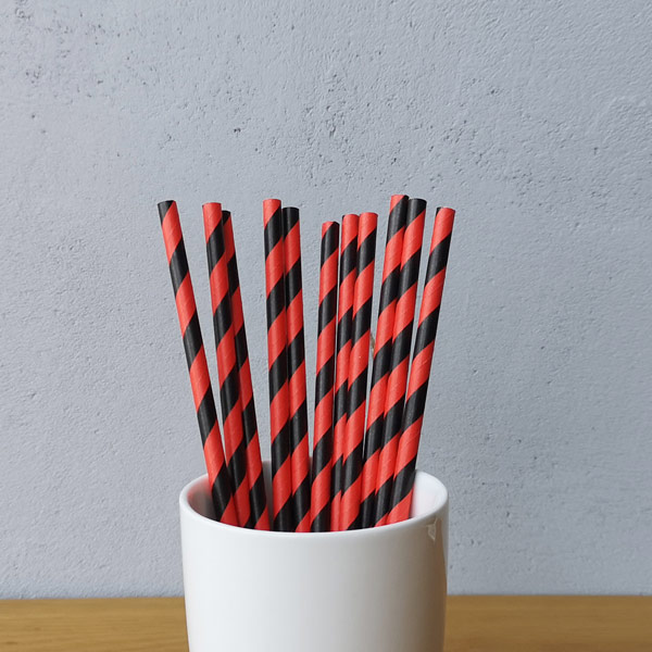 Red And Black  Big Striped Drinking Paper Straws