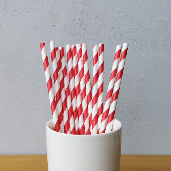 Red Big Striped Drinking Paper Straws