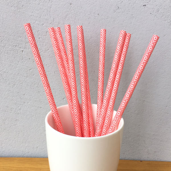 Red Checkered Drinking Paper Straws