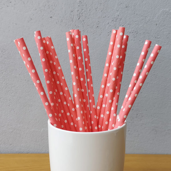 Red Middle Polka Dot Drinking Paper Straws