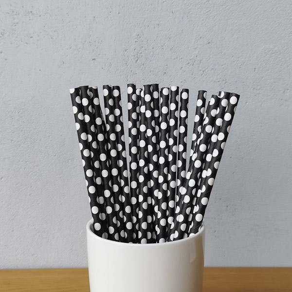 White Big Polka Dot Drinking Paper Straws