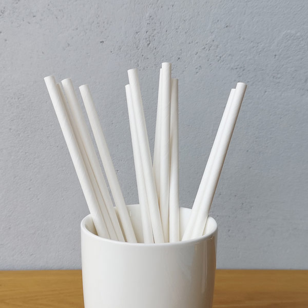 White Solid Colour Drinking Paper Straws