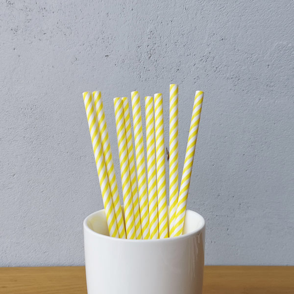Yellow Small Striped Drinking Paper Straws