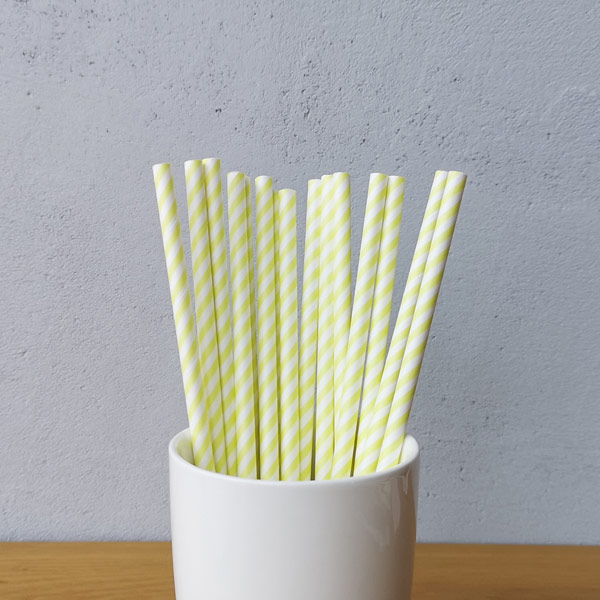 Yellow And White Small Striped Drinking Paper Straws