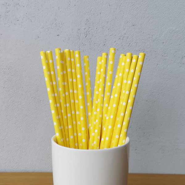 Yellow With White Polka Dot Drinking Paper Straws