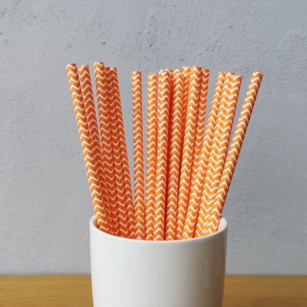 Orange Chevron Striped Drinking Paper Straws