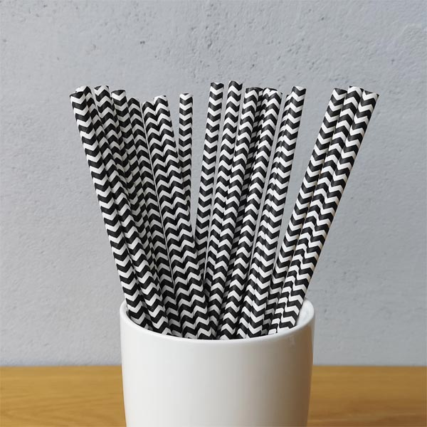 Black Chevron Striped Drinking Paper Straws