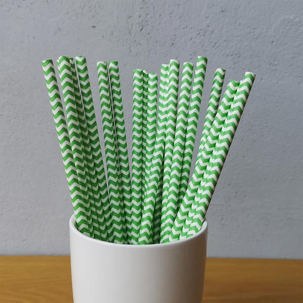Green Chevron Striped Drinking Paper Straws
