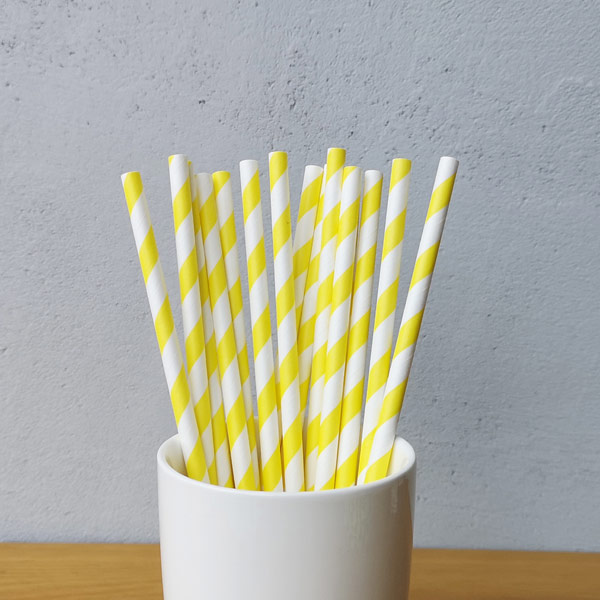Yellow Big Striped Drinking Paper Straws