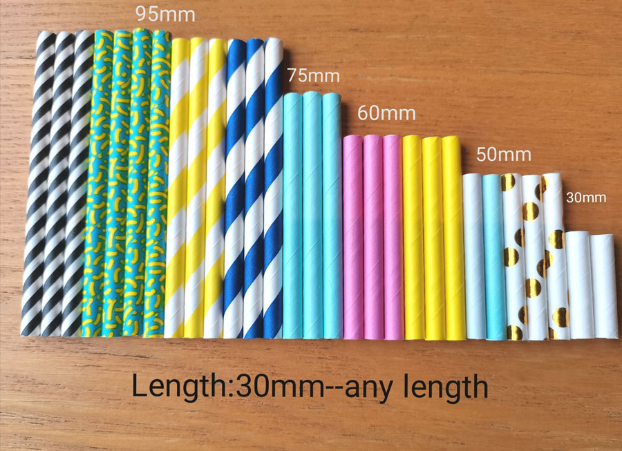 Disposable Short Food Grade Biodegradble Paper Straw Bulk in Different Colors